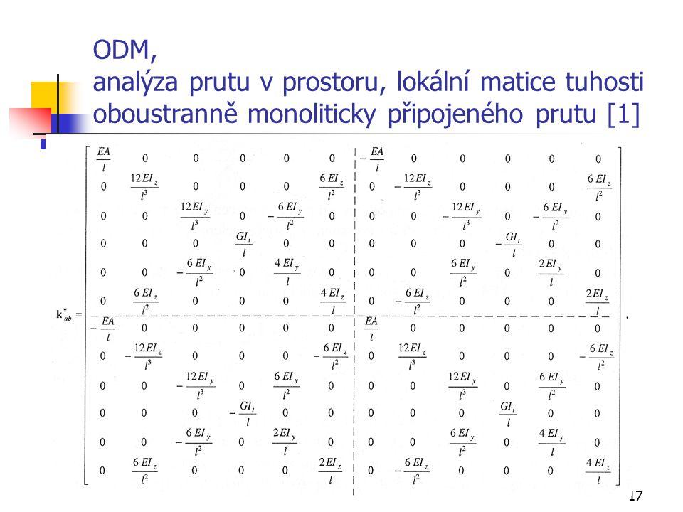 ODM, analýza prutu v prostoru, lokální matice tuhosti oboustranně monoliticky připojeného prutu [1]